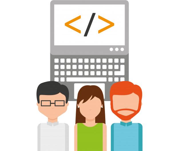 Concepto de tres personas y un monitor con una etiqueta dentro.