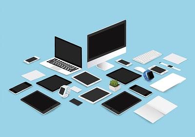 Concepto de ordeneradores, tabletas, móviles y libretas.