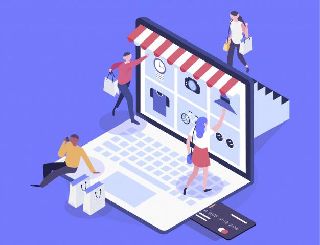 Concepto de una tienda en línea con personas encima de un ordenador portátil con bolsas en la mano.